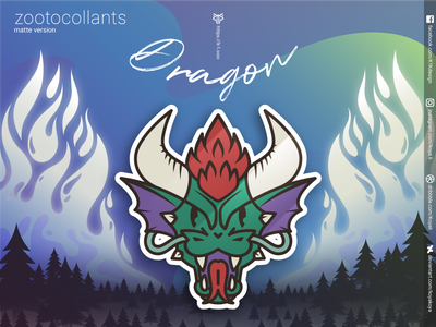 ZOOTOCOLLANTS - Dragon in matte colors flames burning fire vector art stickers north merch landscape illustration gradients goodies forest dragon design character design aurora adobe illustrator
