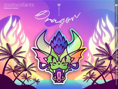 ZOOTOCOLLANTS - Dragon in iridescent colors fire synthwave retrowave vector art sunset stickers sea palmtrees merch landscape iridescent illustration holographic gradients goodies flames dragon character design burning adobe illustrator
