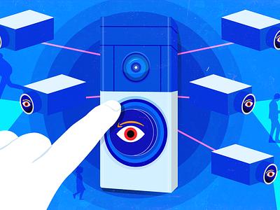 Amazon Surveillance vector neighborhood police amazon art design illustration editorial