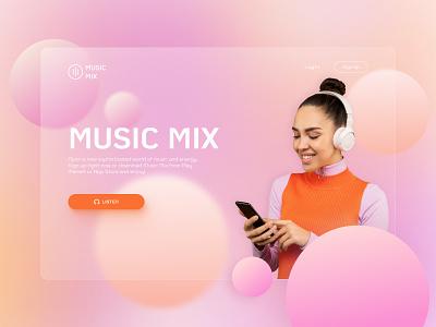Music Player Concept brainstorm ideas concept glass effect glassmorphism gradients bright color combinations colorfull aesthetics uxdesign uidesign uiux webdesign