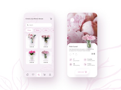 Fresh Bouquets Delivery App Concept aesthetics uxdesign uidesign webdesign
