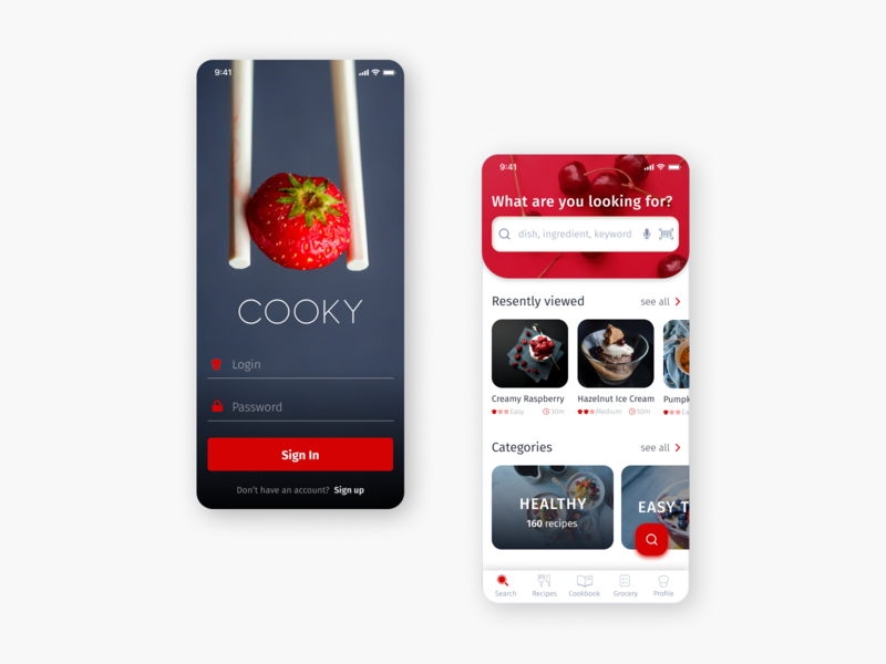 Recipe mobile app app ux ui