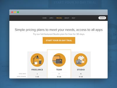 Pricing Plan icons table subscription pricing web