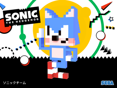 Sonic the Voxel genesis 3dart sega magicavoxel voxel illustration