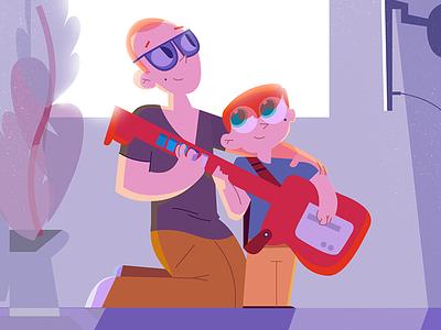 Playtime playing son guitarhero illustration