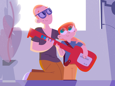 Playtime playing son guitarhero illustration