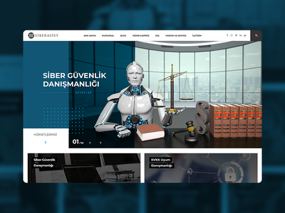 Siberasist cybersecurity cyber security design onepage blue fullwidth webdesign web white clean responsive