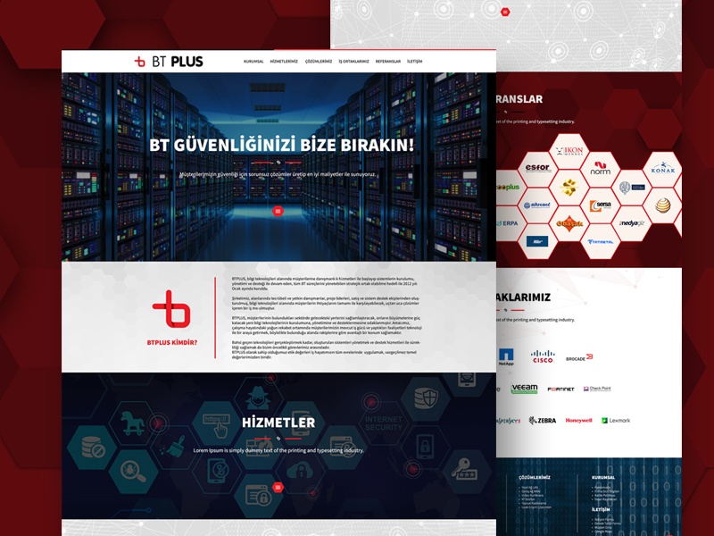 Bt Plus bilisim black red onepage fullwidth webdesign web white clean responsive