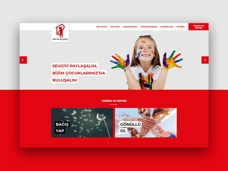 Bizim Çocuklarımız fullwidth webdesign web white responsive clean red girls boys children