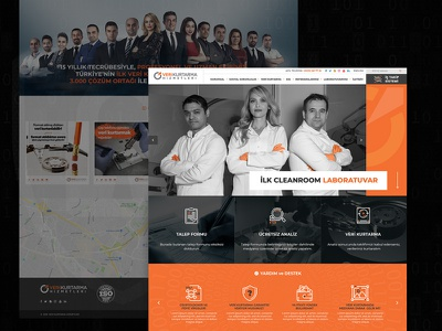 Veri Kurtarma onepage fullwidth webdesign web white responsive clean turuncu orange backup veri kurtarma