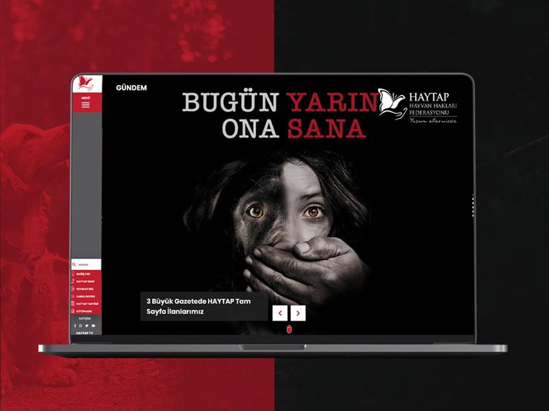 HAYTAP association design fullwidth webdesign web white clean responsive fullpage black red dernek hayvan haklari haytap