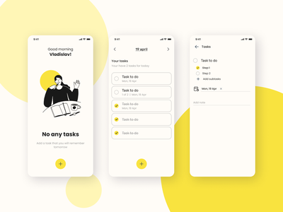 BB-list | Task Manager date empty page interface yellow task manager task to do illustration clean app ux app design mobile app design ui