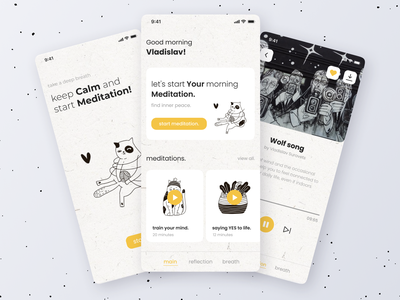 Relaxiki | Meditation app color cats relaxation relax mindfulness bw black and white meditation illustration clean ux app design mobile app design ui