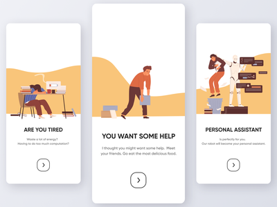 Personal assistant Onboarding typography interface minimal app design illustration art colors onboarding screens assistant vector illustration clean app design mobile app design ui onboarding