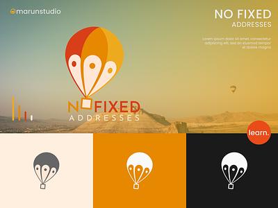 No Fixed Addresses orange green typography balloon logo fresh design illustration vector app travel location symbol