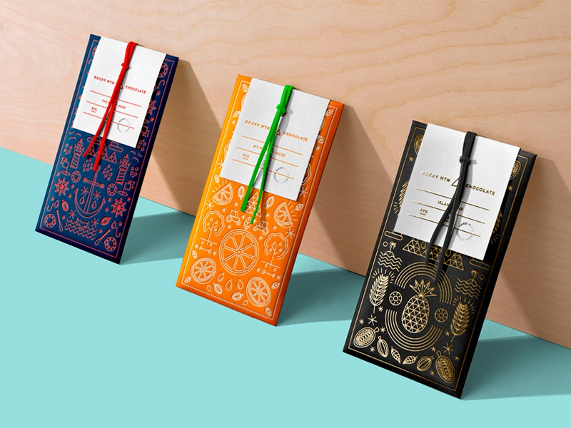 Rocky Mountain Chocolate: Lineage Line modern foil photography packaging design chocolate branding