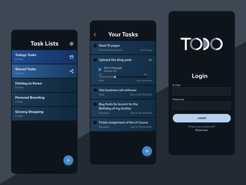 Todo List App user interface design app design ui design dark theme dark ui productivity todo app todolist