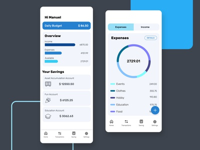 Money Saving App app design ui design savings expenses money saving money