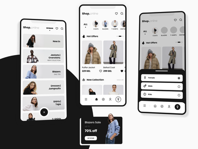 Clothes Store App mobile app design offers recommendation menu clothes store menu clothes store clothes mobile app expand categories interface ux ui app mikheil gogiberidze mirxvali clean design clean