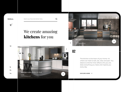 Practice #1 - Kitchens shop main page figma clean design clean ui interface kitchen clean website branding typography ux ui web design