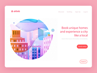 The web of Airbnb homepage vector illustration