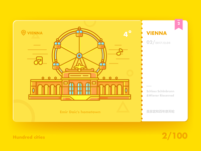 One hundred city ICONS:VIENNA buildings illustration icon city