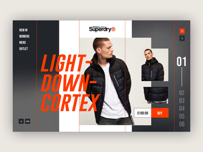 Superdry scroll transition scroll product motion interaction priciple animation ecommerce shop web design ui