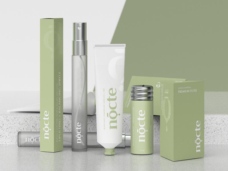 Nocte cosmetic cosmetics identity minimal clean logo design hunapstudio render brand design packaging brand nocte