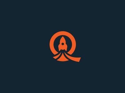 Q letter and a rocket