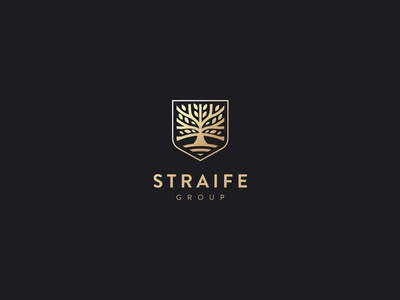 Straife group gold luxury tree shield logo design kapor hunapstudio hunap