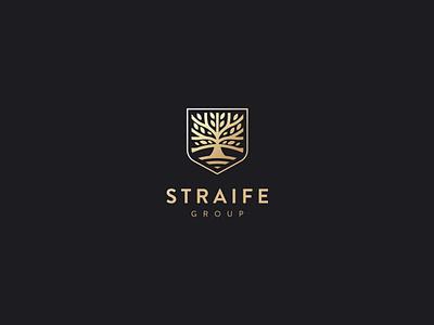 Straife group gold luxury tree shield logo design kapor hunapstudio hunap