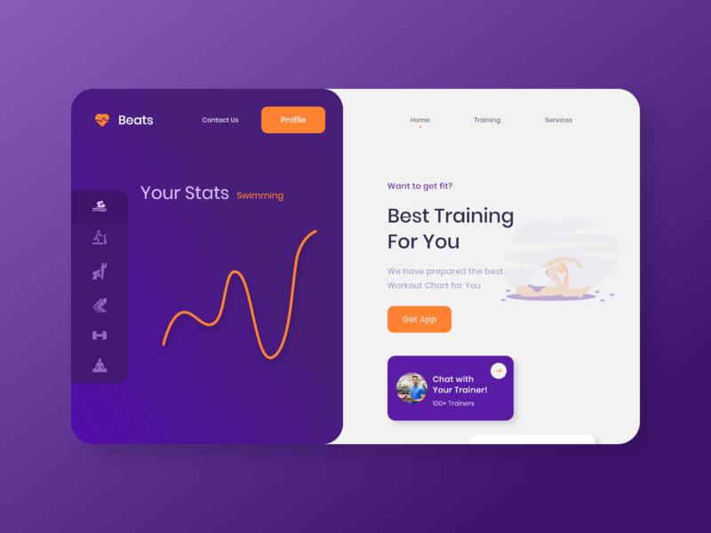Beats Fitness landing page app web ui design