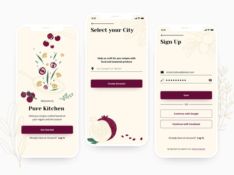 Onboarding screens for a Recipe App focusing on sustainability mobile app mobile ui cooking app cooking recipe app recipe account signup page sign up signup onboarding screens onboarding ui onboarding design button design burgundy ui illustration 2d illustration digital illustration