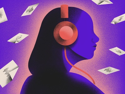 The Best Podcasts article procreate teacher listening headphones podcast art podcast music design edpuzzle grain texture editorial illustration
