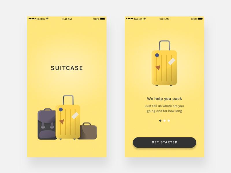 Suitcase illustration onboarding splash packing list app ui suitcase