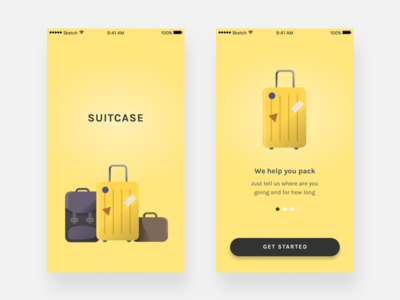 Suitcase illustration onboarding splash packing list app ui suitcase