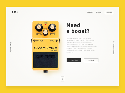 DailyUI #003 Landing page boost pedal overdrive ui 003 dailyui landing