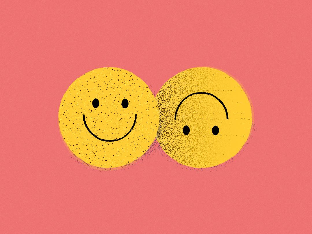 Strange Feelin' vector grain happysad sad smiley face smile editorial texture illustration