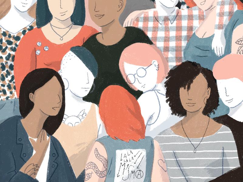 Sisterhood feminism design texture editorial grain illustration