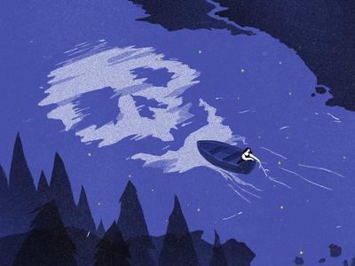Haunted river illustration