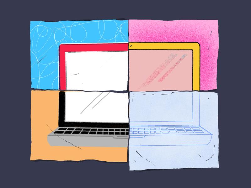 App Smashing women in illustration illustration art illustration design laptop pieces sources collaboration app smashing editorial texture illustration