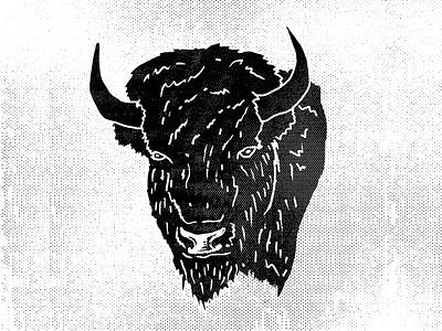 Bison illustration bison hand drawn drawing halftone texture kansas city buffalo wild wacom