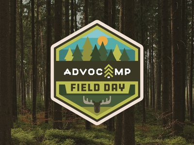 Advocamp Field Day advocamp influitive forest outdoors event branding camp badge illustration vector