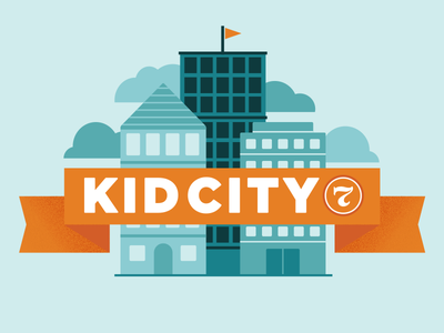 Kid City 7 illustration vector hoefler clouds children buildings