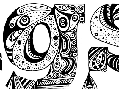 Detail of - Pen Drawing - 'Fancy Things' hand drawn illustration type typography ink
