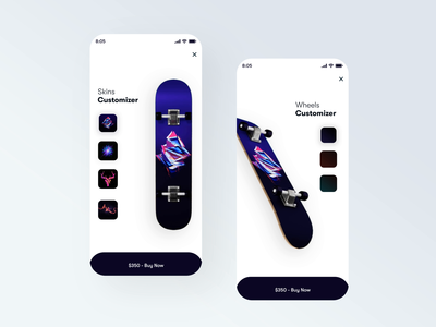 Custom Skins 🛹 minimal simplistic clean uiux skateboarding animation ui  ux app animation ui design ui app ui app website illustration icon web design web ux design branding