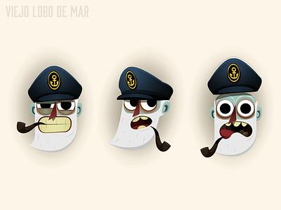Captain expressions viejo lobo captain sailor marine sea boat character