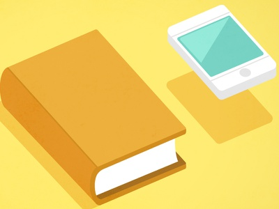 Literature App video infography infography minimal vector book phone