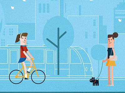 Neighborhood life design character illustration bike dog twitter woman infography minimal