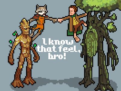 Trees and shorties pixel pixelart iso groot rocket hobbit ent bro